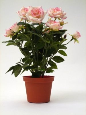 Rosier artificiel rose en pot haut de gamme